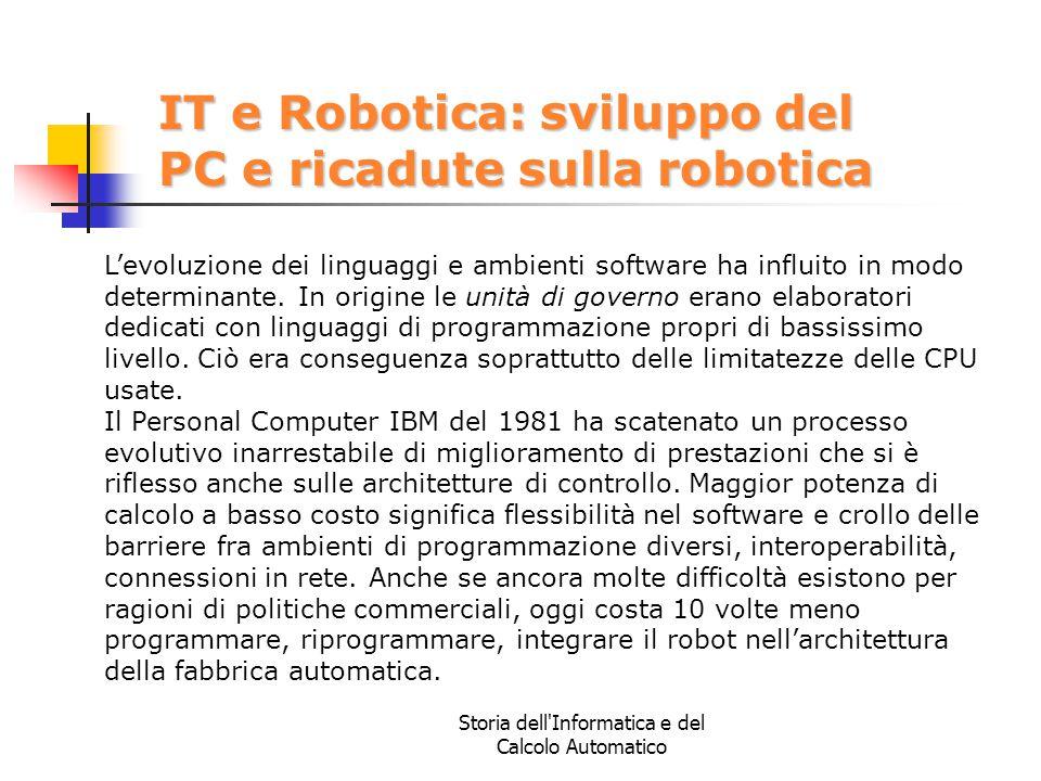 Storia dell'Informatica e del Calcolo Automatico IT e Robotica: sviluppo del PC e ricadute sulla robotica L'evoluzione dei linguaggi e ambienti softwa