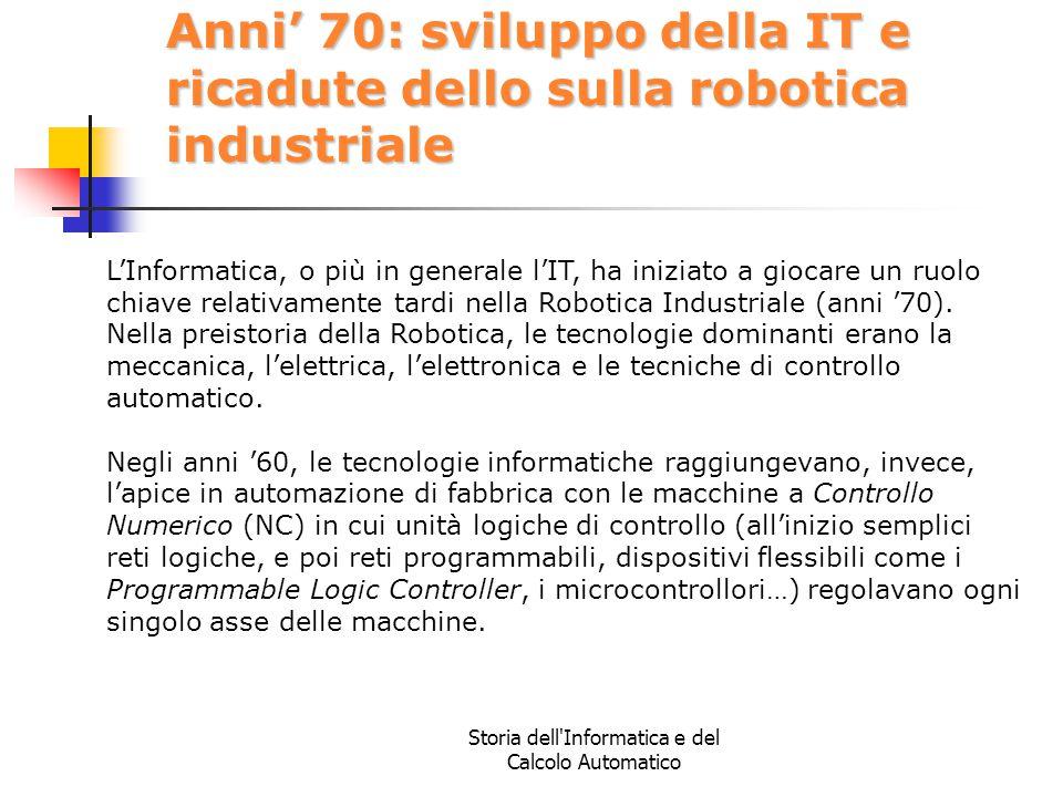 Storia dell'Informatica e del Calcolo Automatico Anni' 70: sviluppo della IT e ricadute dello sulla robotica industriale L'Informatica, o più in gener