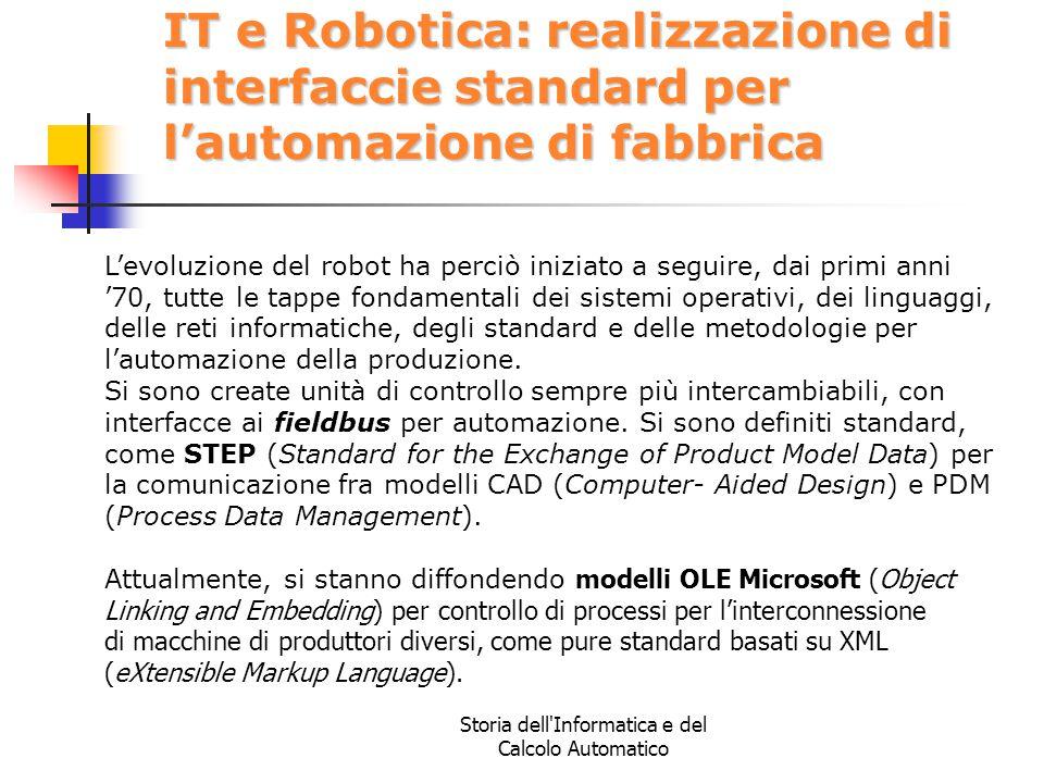 Storia dell'Informatica e del Calcolo Automatico IT e Robotica: realizzazione di interfaccie standard per l'automazione di fabbrica L'evoluzione del r