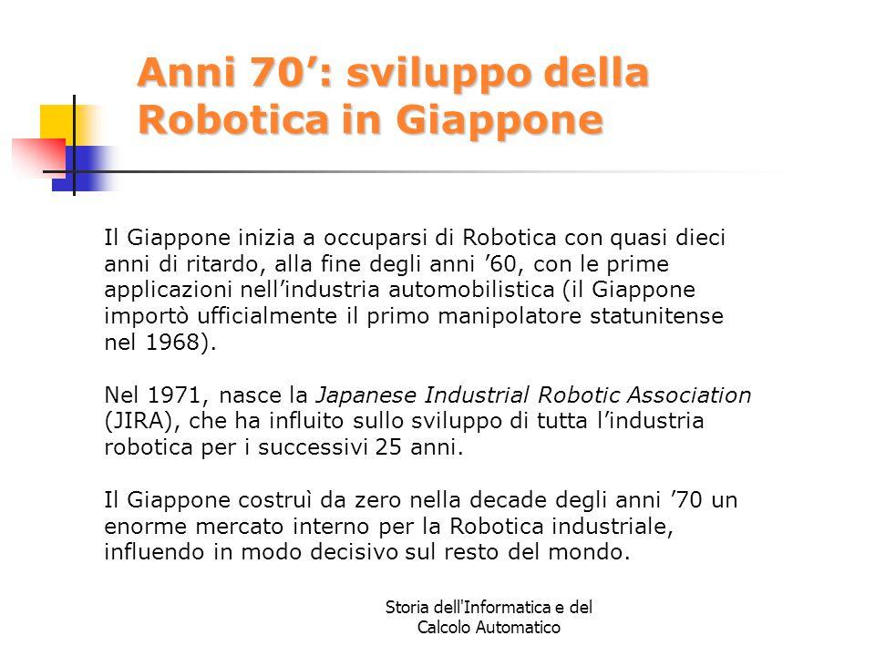 Storia dell'Informatica e del Calcolo Automatico Anni 70': sviluppo della Robotica in Giappone Il Giappone inizia a occuparsi di Robotica con quasi di