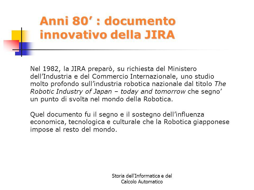 Storia dell'Informatica e del Calcolo Automatico Anni 80' : documento innovativo della JIRA Nel 1982, la JIRA preparò, su richiesta del Ministero dell