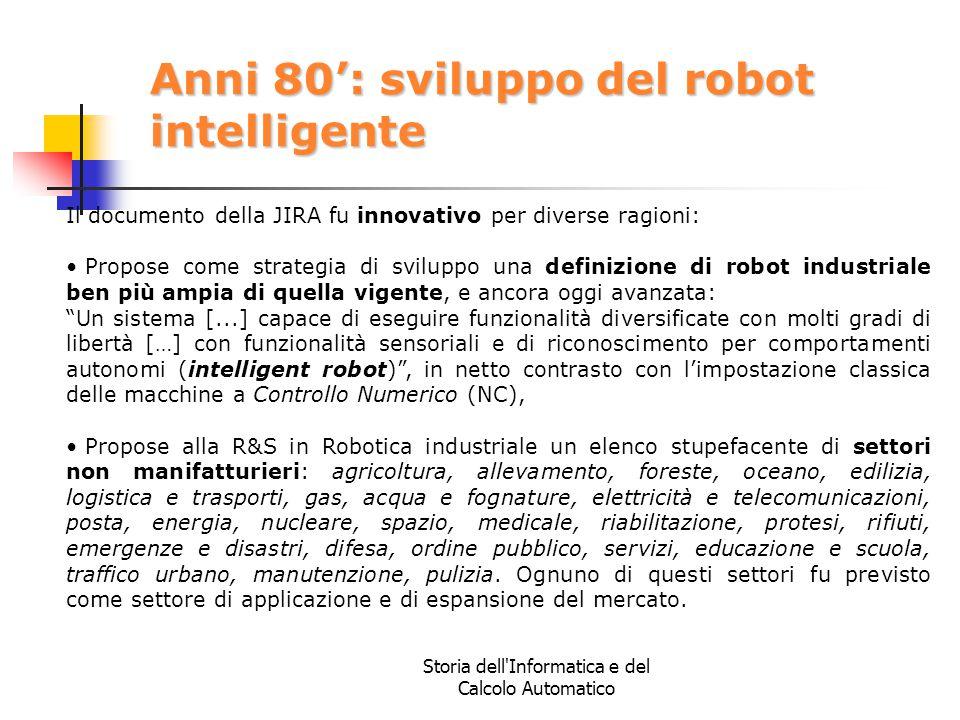 Storia dell'Informatica e del Calcolo Automatico Anni 80': sviluppo del robot intelligente Il documento della JIRA fu innovativo per diverse ragioni: