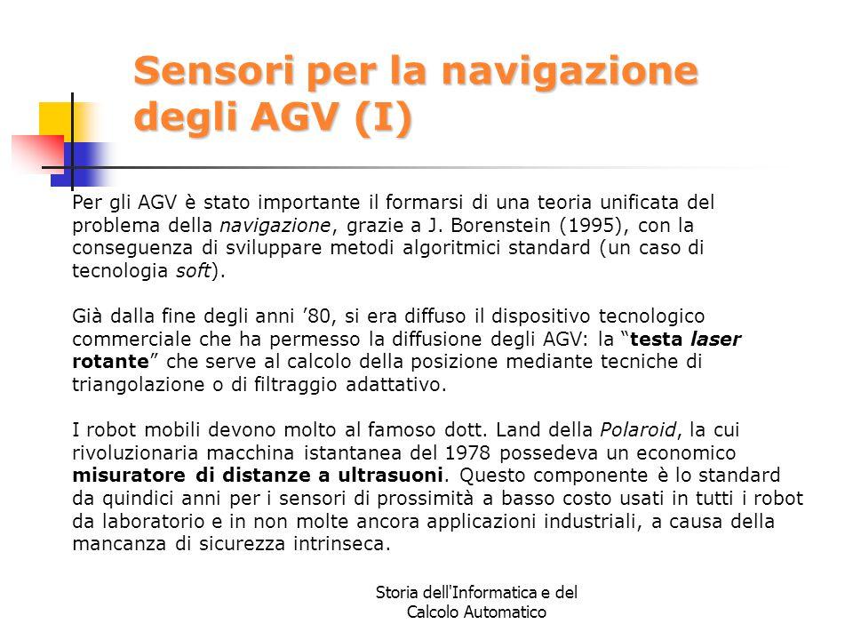 Storia dell'Informatica e del Calcolo Automatico Sensori per la navigazione degli AGV (I) Per gli AGV è stato importante il formarsi di una teoria uni