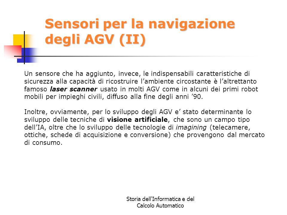 Storia dell'Informatica e del Calcolo Automatico Sensori per la navigazione degli AGV (II) Un sensore che ha aggiunto, invece, le indispensabili carat