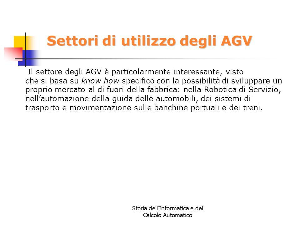 Storia dell'Informatica e del Calcolo Automatico Settori di utilizzo degli AGV Il settore degli AGV è particolarmente interessante, visto che si basa