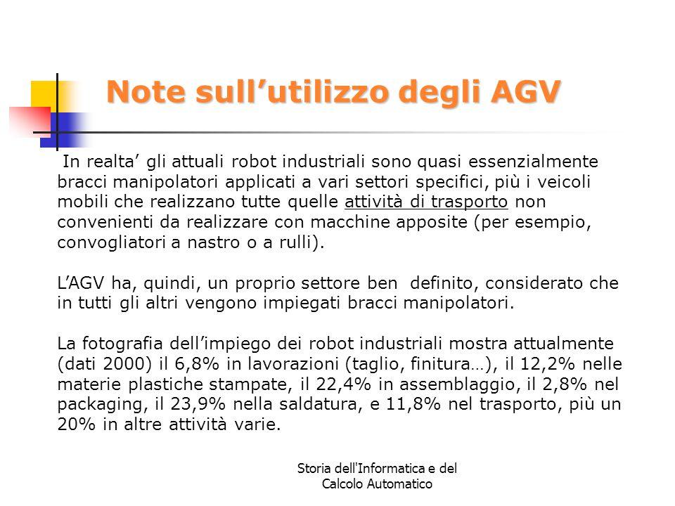 Storia dell'Informatica e del Calcolo Automatico Note sull'utilizzo degli AGV In realta' gli attuali robot industriali sono quasi essenzialmente bracc