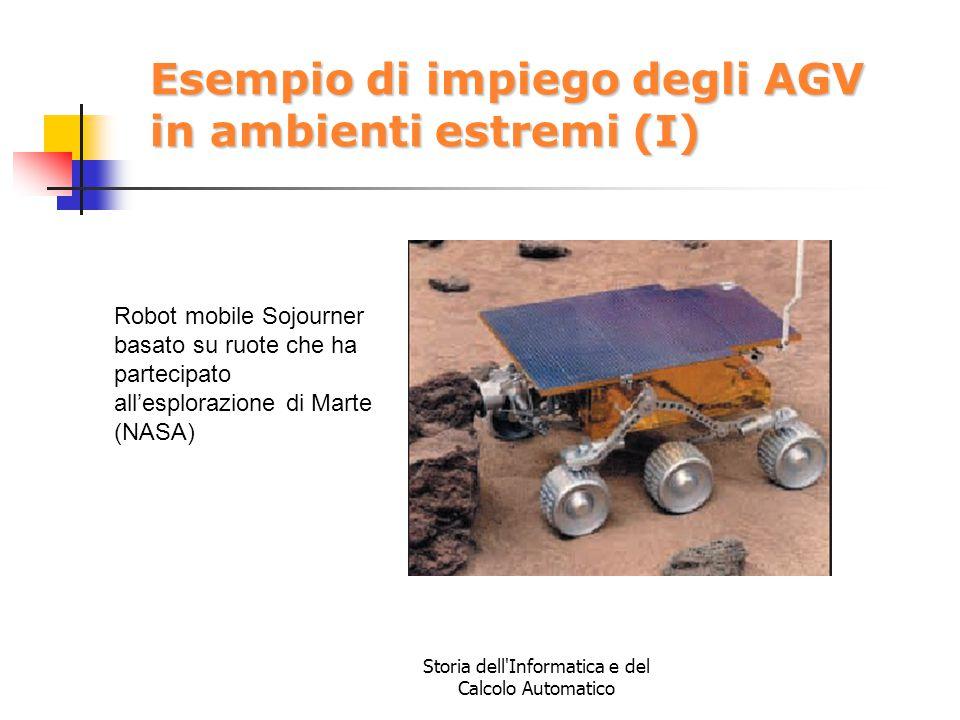 Storia dell'Informatica e del Calcolo Automatico Esempio di impiego degli AGV in ambienti estremi (I) Robot mobile Sojourner basato su ruote che ha pa