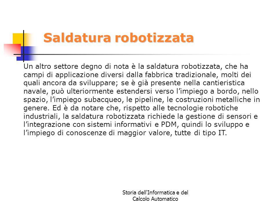 Storia dell'Informatica e del Calcolo Automatico Saldatura robotizzata Un altro settore degno di nota è la saldatura robotizzata, che ha campi di appl