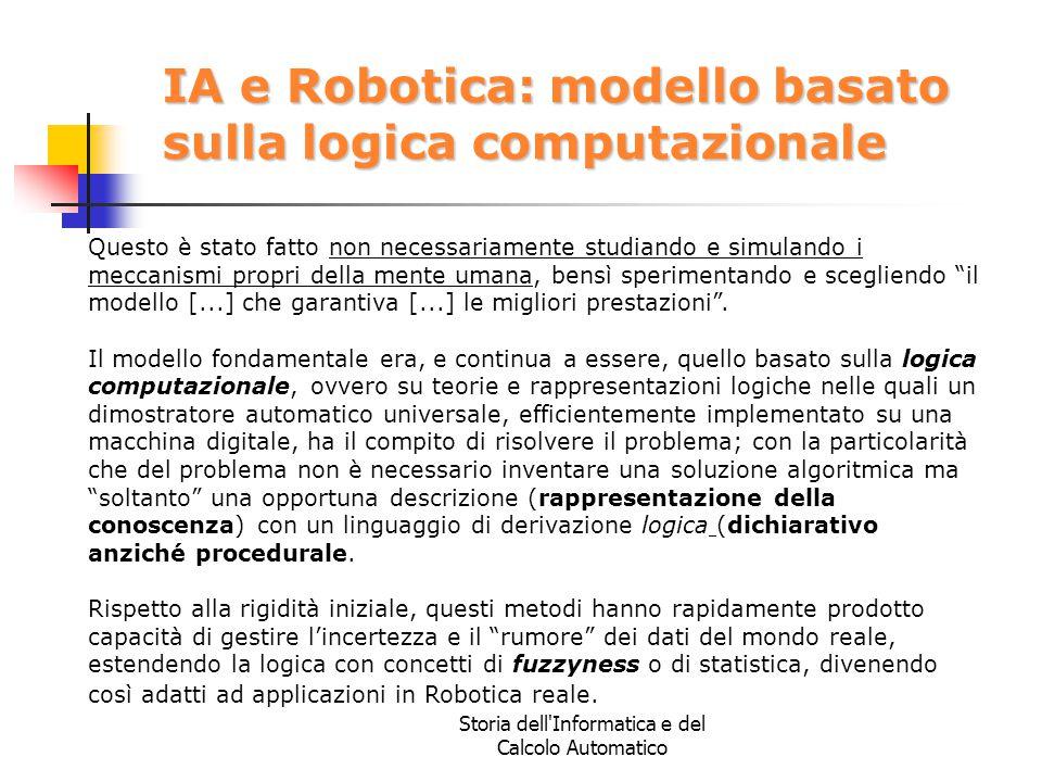 Storia dell'Informatica e del Calcolo Automatico IA e Robotica: modello basato sulla logica computazionale Questo è stato fatto non necessariamente st