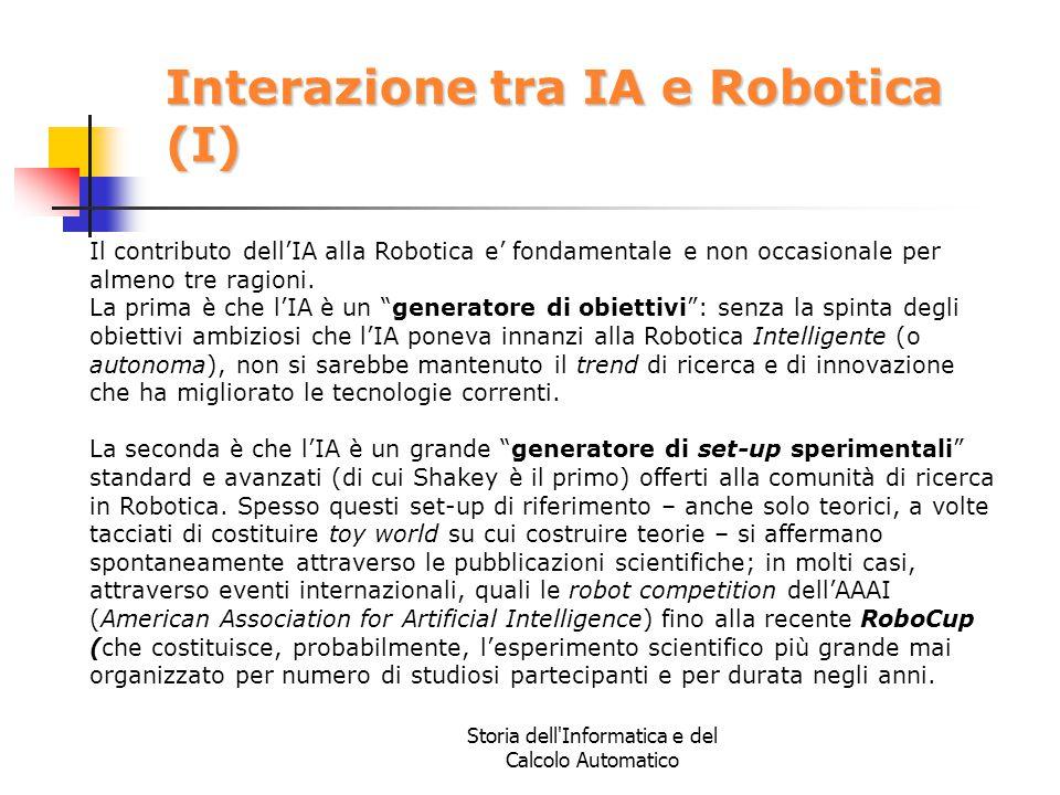 Storia dell'Informatica e del Calcolo Automatico Interazione tra IA e Robotica (I) Il contributo dell'IA alla Robotica e' fondamentale e non occasiona