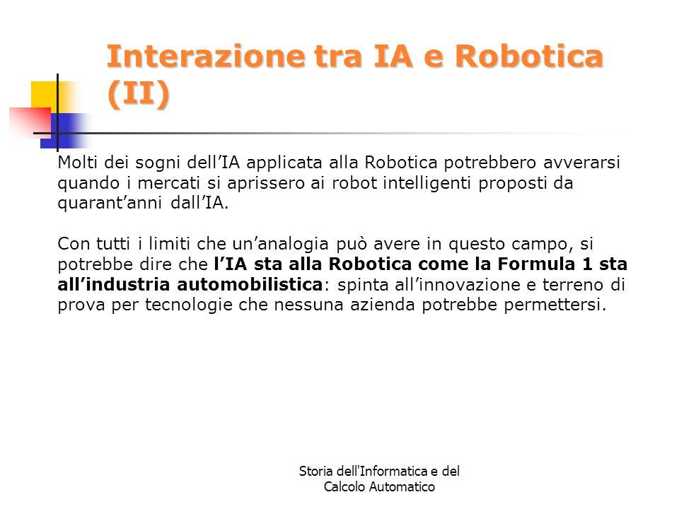 Storia dell'Informatica e del Calcolo Automatico Interazione tra IA e Robotica (II) Molti dei sogni dell'IA applicata alla Robotica potrebbero avverar