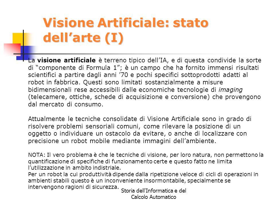 Storia dell'Informatica e del Calcolo Automatico Visione Artificiale: stato dell'arte (I) La visione artificiale è terreno tipico dell'IA, e di questa