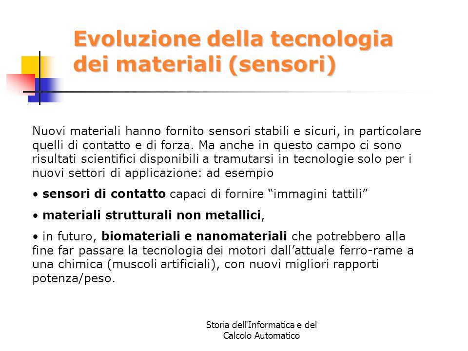 Storia dell'Informatica e del Calcolo Automatico Evoluzione della tecnologia dei materiali (sensori) Nuovi materiali hanno fornito sensori stabili e s