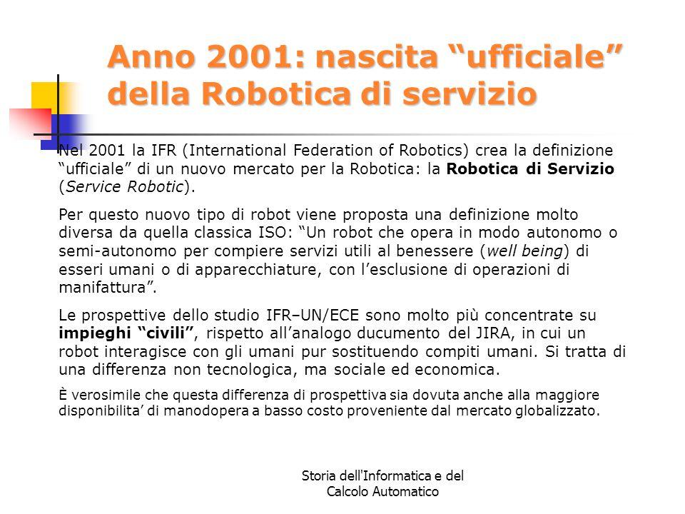 """Storia dell'Informatica e del Calcolo Automatico Anno 2001: nascita """"ufficiale"""" della Robotica di servizio Nel 2001 la IFR (International Federation o"""