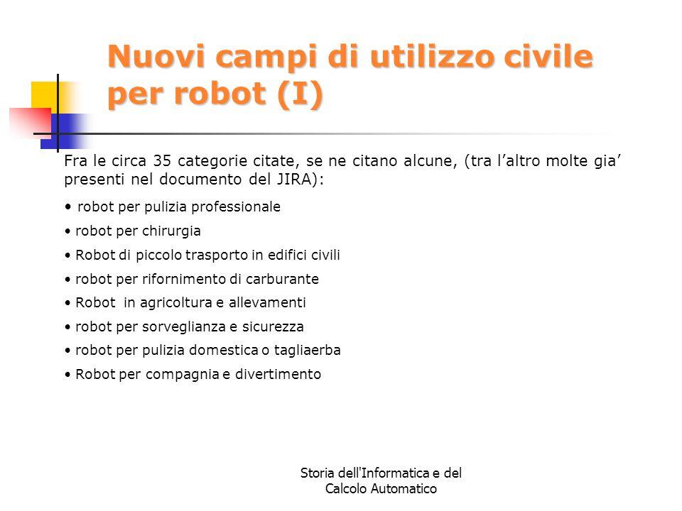 Storia dell'Informatica e del Calcolo Automatico Nuovi campi di utilizzo civile per robot (I) Fra le circa 35 categorie citate, se ne citano alcune, (