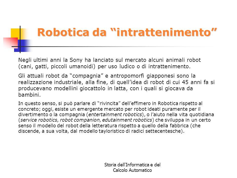 """Storia dell'Informatica e del Calcolo Automatico Robotica da """"intrattenimento"""" Negli ultimi anni la Sony ha lanciato sul mercato alcuni animali robot"""