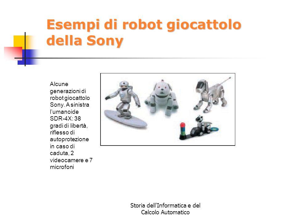 Storia dell'Informatica e del Calcolo Automatico Esempi di robot giocattolo della Sony Alcune generazioni di robot giocattolo Sony. A sinistra l'umano