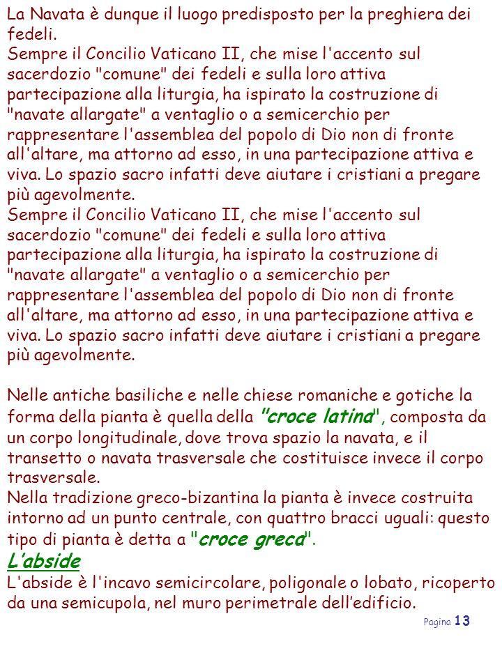 Pagina 13 La Navata è dunque il luogo predisposto per la preghiera dei fedeli. Sempre il Concilio Vaticano II, che mise l'accento sul sacerdozio