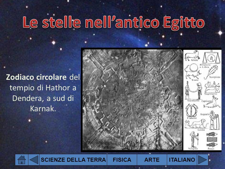 SCIENZE DELLA TERRAFISICAARTEITALIANO Zodiaco circolare del tempio di Hathor a Dendera, a sud di Karnak.