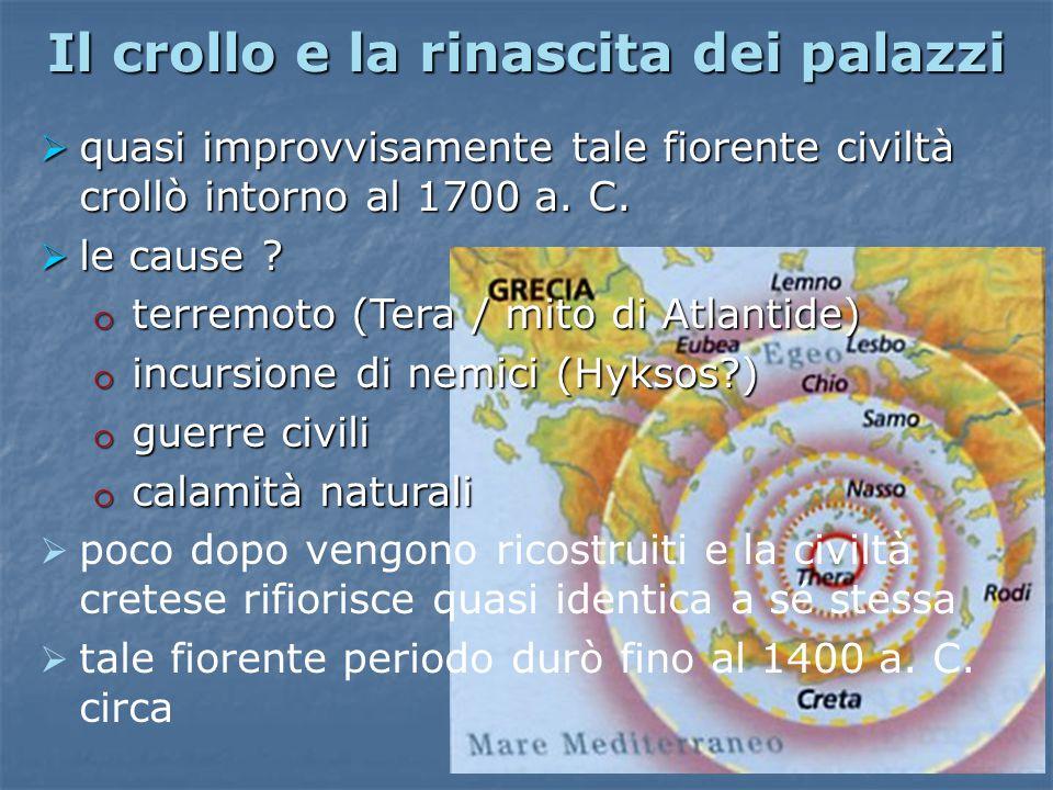 Il crollo e la rinascita dei palazzi  quasi improvvisamente tale fiorente civiltà crollò intorno al 1700 a. C.  le cause ? o terremoto (Tera / mito
