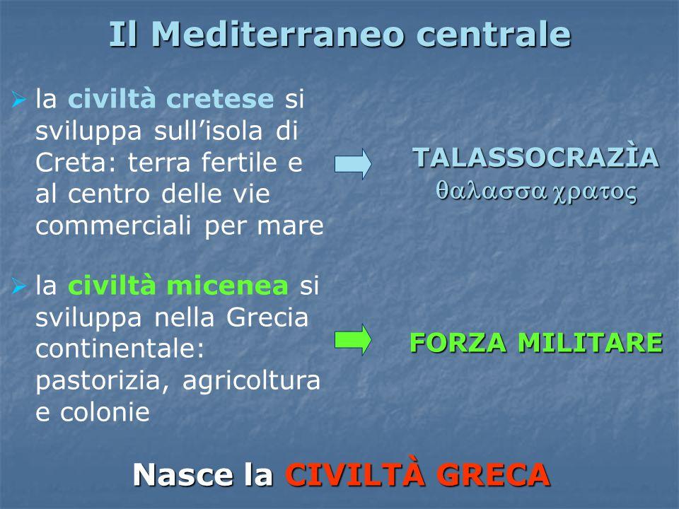 Il Mediterraneo centrale  la civiltà cretese si sviluppa sull'isola di Creta: terra fertile e al centro delle vie commerciali per mare  la civiltà m