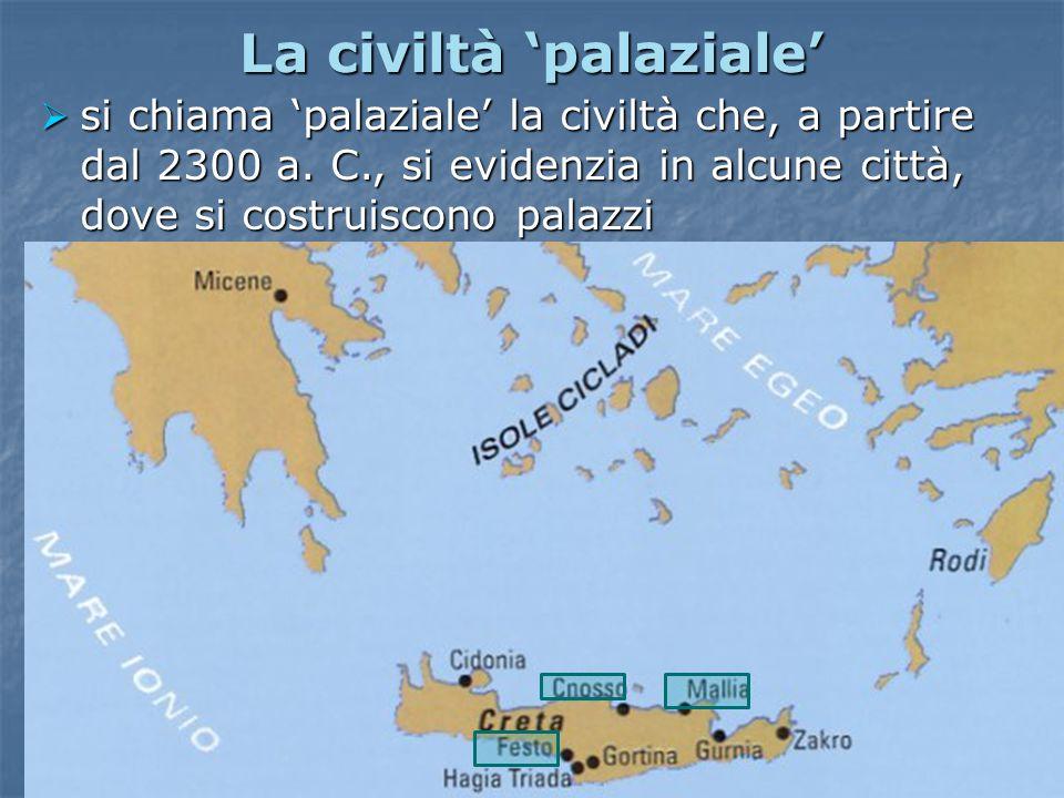 La civiltà 'palaziale'  a Cnosso, a Festo e a Mallia vengono costruiti palazzi sontuosi, con decine di cortili e stanze riccamente affrescate La sala del trono (Palazzo di Cnosso)