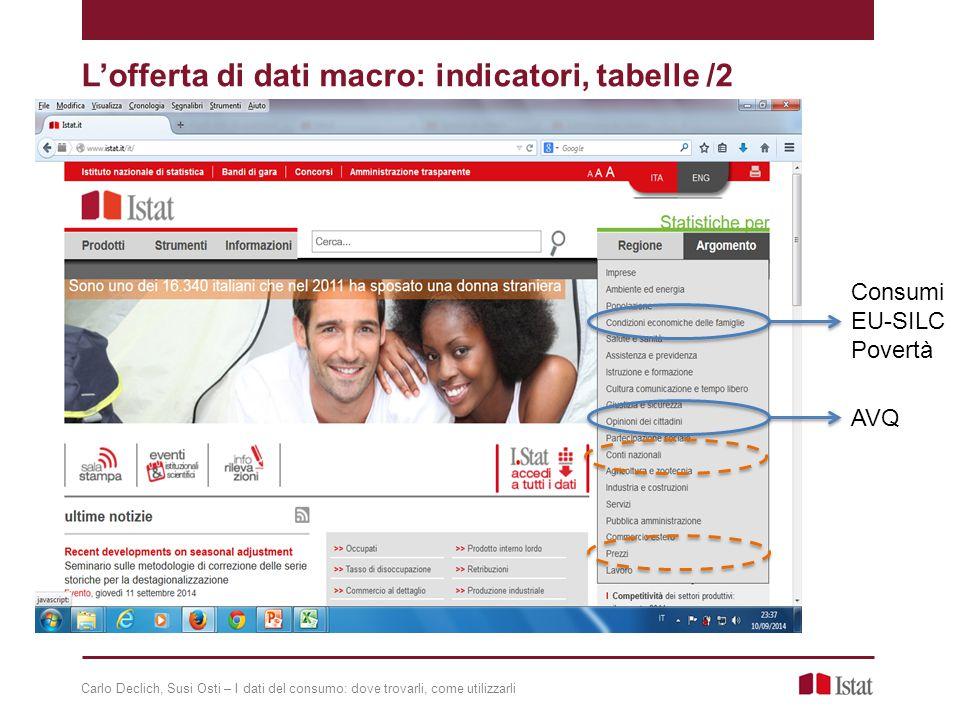 L'offerta di dati macro: indicatori, tabelle /2 Consumi EU-SILC Povertà AVQ Carlo Declich, Susi Osti – I dati del consumo: dove trovarli, come utilizzarli