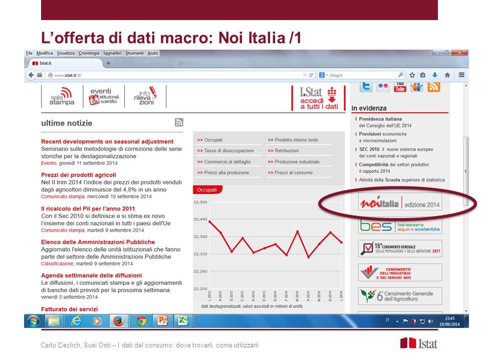 L'offerta di dati macro: Noi Italia /1 Carlo Declich, Susi Osti – I dati del consumo: dove trovarli, come utilizzarli