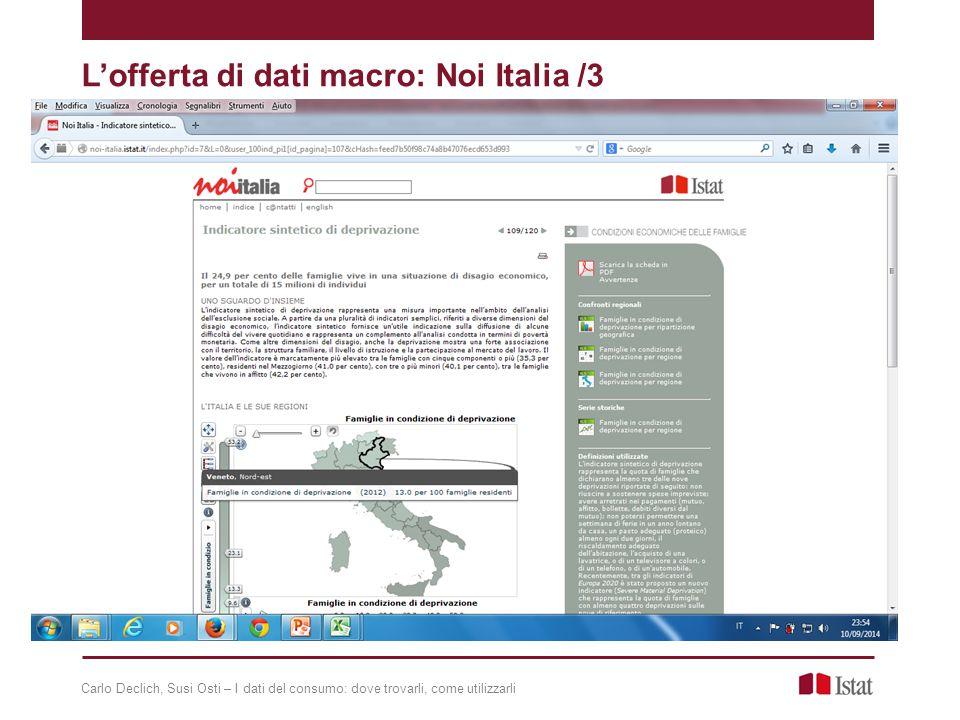 L'offerta di dati macro: Noi Italia /3 Carlo Declich, Susi Osti – I dati del consumo: dove trovarli, come utilizzarli