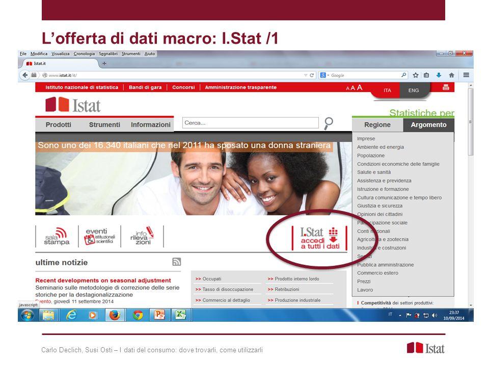 L'offerta di dati macro: I.Stat /1 Carlo Declich, Susi Osti – I dati del consumo: dove trovarli, come utilizzarli