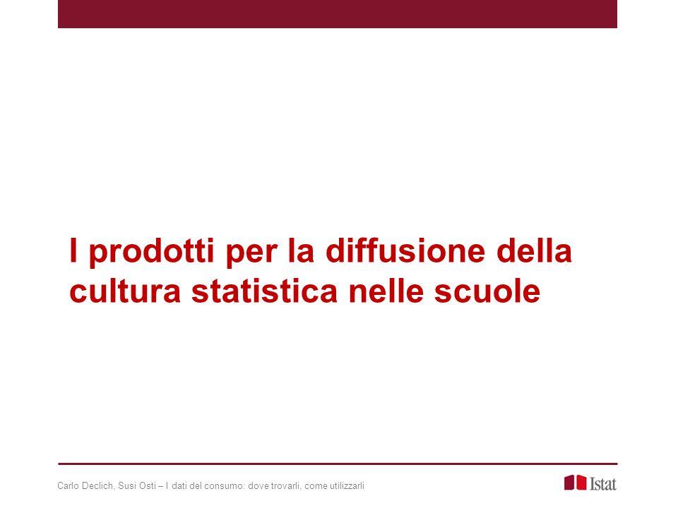 I prodotti per la diffusione della cultura statistica nelle scuole Carlo Declich, Susi Osti – I dati del consumo: dove trovarli, come utilizzarli