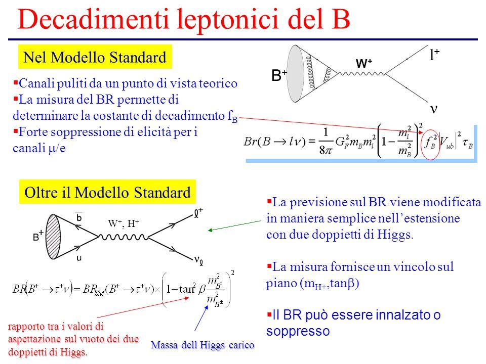 Decadimenti leptonici del B B+B+ l+l+ ν W+W+ Nel Modello Standard  Canali puliti da un punto di vista teorico  La misura del BR permette di determinare la costante di decadimento f B  Forte soppressione di elicità per i canali  /e + W +, H + rapporto tra i valori di aspettazione sul vuoto dei due doppietti di Higgs.