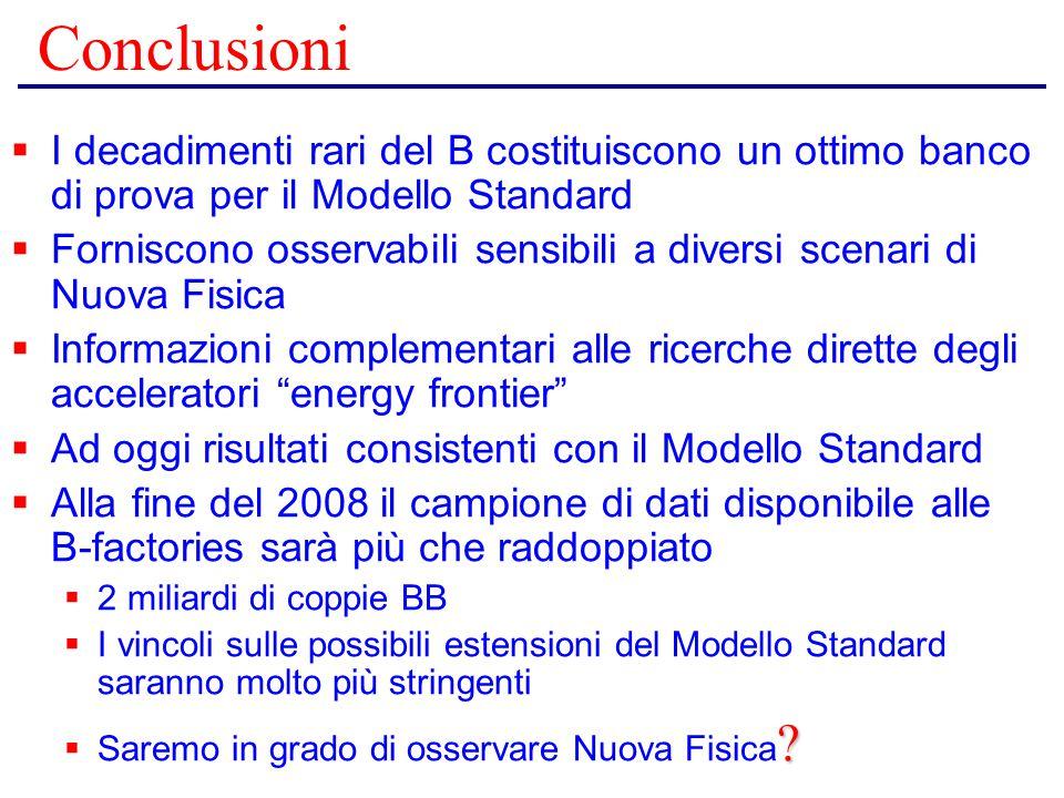 Conclusioni  I decadimenti rari del B costituiscono un ottimo banco di prova per il Modello Standard  Forniscono osservabili sensibili a diversi sce