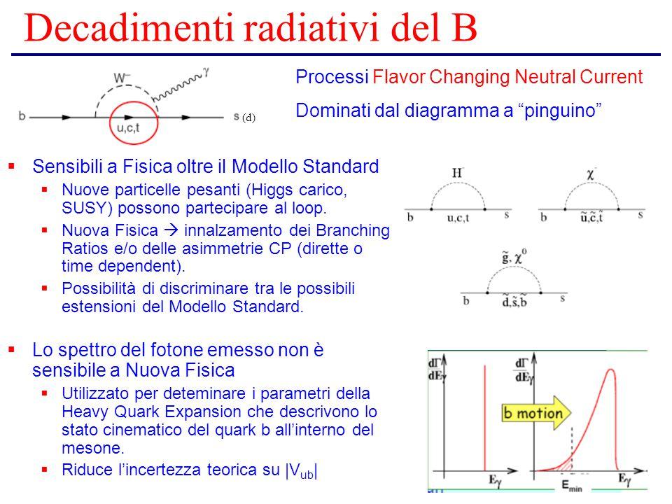 Decadimenti radiativi del B  Sensibili a Fisica oltre il Modello Standard  Nuove particelle pesanti (Higgs carico, SUSY) possono partecipare al loop.
