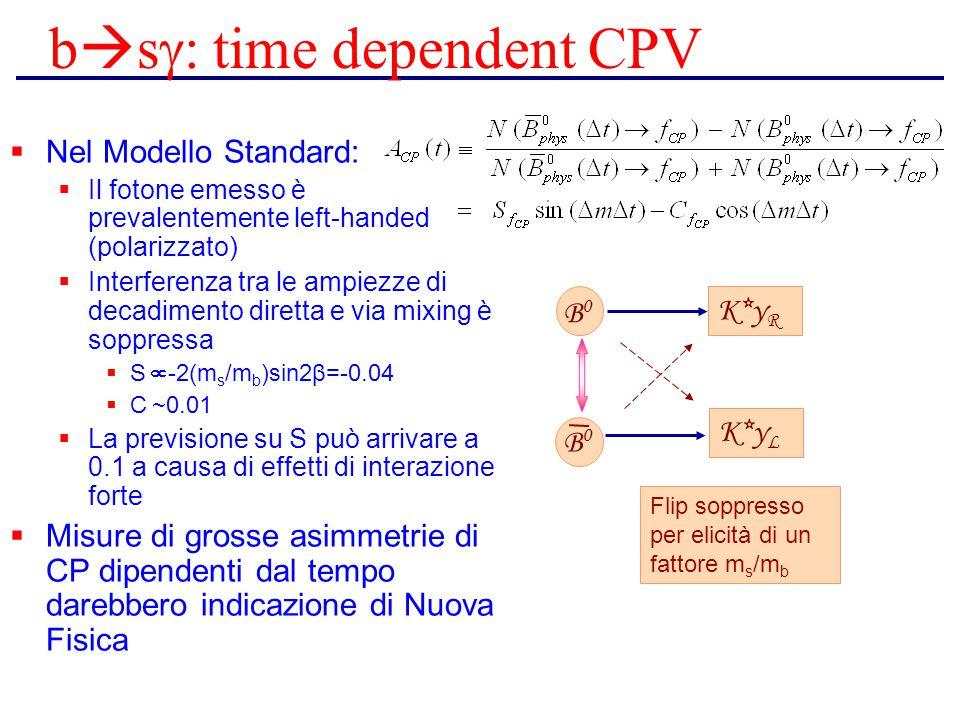 b  s  time dependent CPV  Nel Modello Standard:  Il fotone emesso è prevalentemente left-handed (polarizzato)  Interferenza tra le ampiezze di d