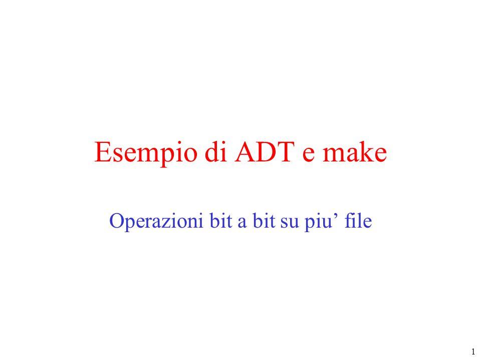 1 Esempio di ADT e make Operazioni bit a bit su piu' file