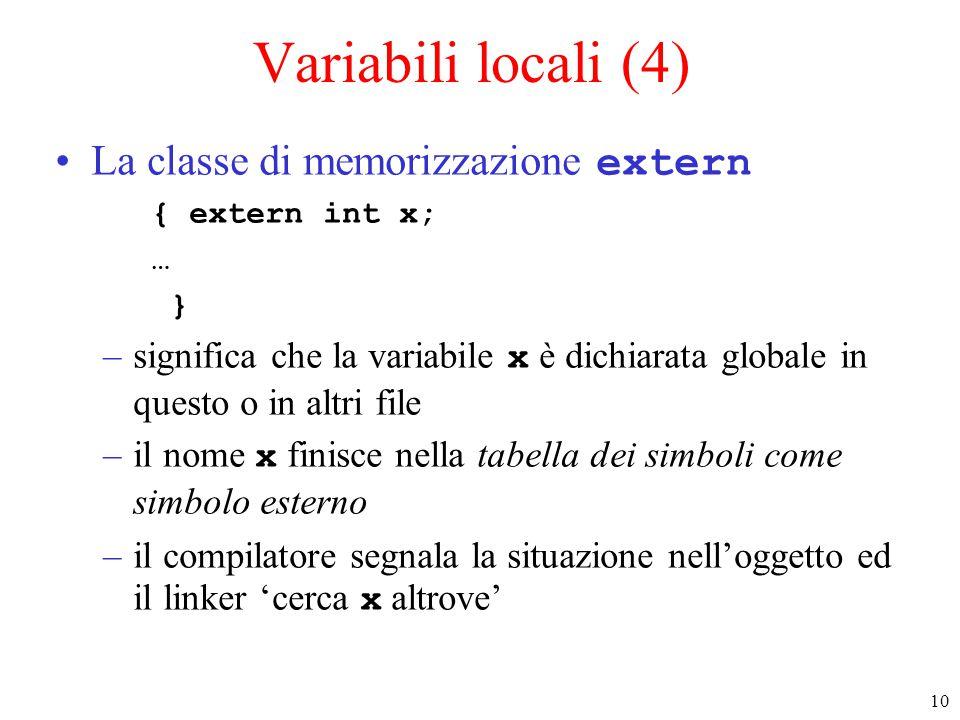 10 Variabili locali (4) La classe di memorizzazione extern { extern int x; … } –significa che la variabile x è dichiarata globale in questo o in altri file –il nome x finisce nella tabella dei simboli come simbolo esterno –il compilatore segnala la situazione nell'oggetto ed il linker 'cerca x altrove'