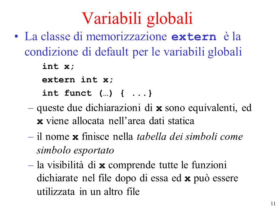 11 Variabili globali La classe di memorizzazione extern è la condizione di default per le variabili globali int x; extern int x; int funct (…) {...} –queste due dichiarazioni di x sono equivalenti, ed x viene allocata nell'area dati statica –il nome x finisce nella tabella dei simboli come simbolo esportato –la visibilità di x comprende tutte le funzioni dichiarate nel file dopo di essa ed x può essere utilizzata in un altro file