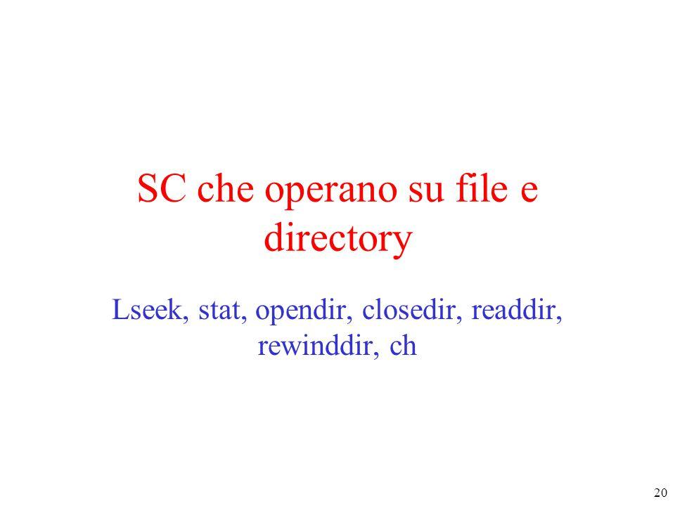 20 SC che operano su file e directory Lseek, stat, opendir, closedir, readdir, rewinddir, ch
