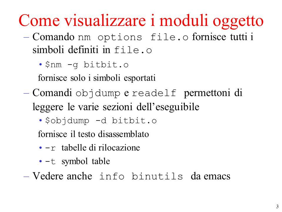 3 Come visualizzare i moduli oggetto –Comando nm options file.o fornisce tutti i simboli definiti in file.o $nm -g bitbit.o fornisce solo i simboli esportati –Comandi objdump e readelf permettoni di leggere le varie sezioni dell'eseguibile $objdump -d bitbit.o fornisce il testo disassemblato -r tabelle di rilocazione -t symbol table –Vedere anche info binutils da emacs