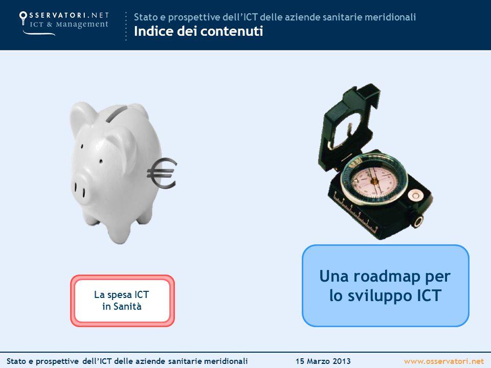 www.osservatori.netStato e prospettive dell'ICT delle aziende sanitarie meridionali15 Marzo 2013 Mettere in circolo l'innovazione Una roadmap per lo sviluppo ICT Stato e prospettive dell'ICT delle aziende sanitarie meridionali Indice dei contenuti La spesa ICT in Italia La spesa ICT in Sanità Una roadmap per lo sviluppo ICT