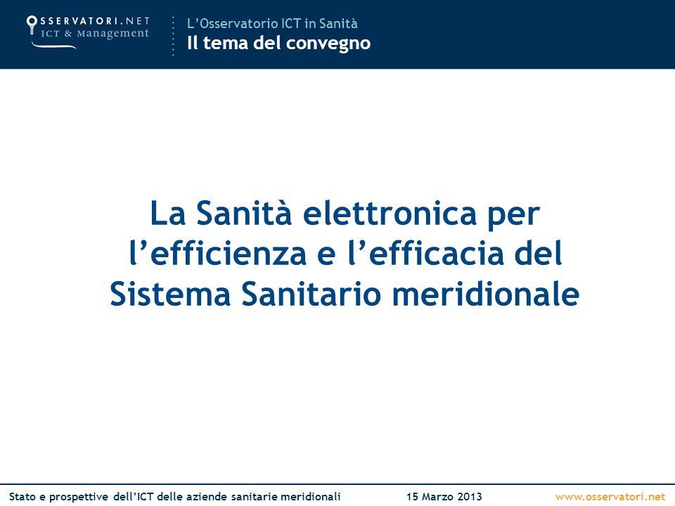 www.osservatori.netStato e prospettive dell'ICT delle aziende sanitarie meridionali15 Marzo 2013 La Sanità elettronica per l'efficienza e l'efficacia del Sistema Sanitario meridionale L'Osservatorio ICT in Sanità Il tema del convegno
