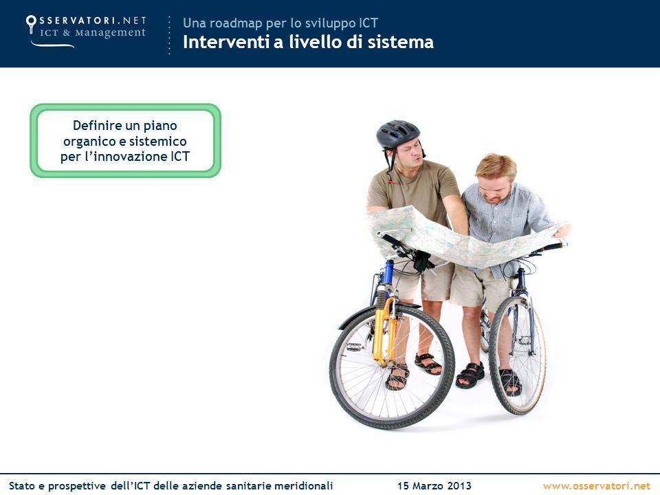 www.osservatori.netStato e prospettive dell'ICT delle aziende sanitarie meridionali15 Marzo 2013 Una roadmap per lo sviluppo ICT Interventi a livello di sistema Definire un piano organico e sistemico per l'innovazione ICT
