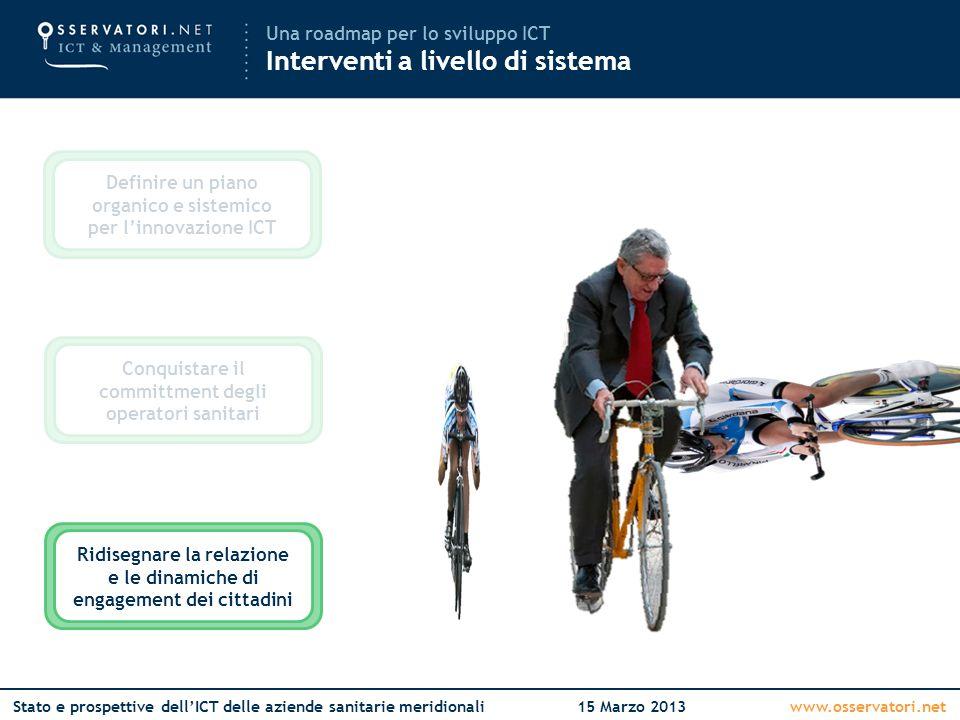 www.osservatori.netStato e prospettive dell'ICT delle aziende sanitarie meridionali15 Marzo 2013 Definire un piano organico e sistemico per l'innovazi