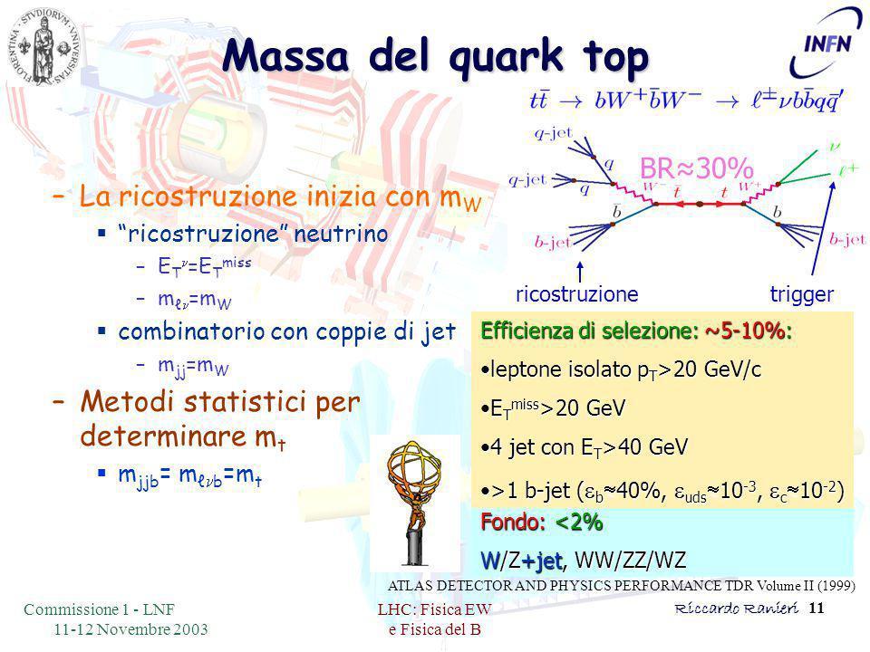 Commissione 1 - LNF 11-12 Novembre 2003 LHC: Fisica EW e Fisica del B Riccardo Ranieri 11 Massa del quark top –La ricostruzione inizia con m W  ricostruzione neutrino –E T n =E T miss –m ℓ n =m W  combinatorio con coppie di jet –m jj =m W –Metodi statistici per determinare m t  m jjb = m ℓ n b =m t triggerricostruzione Fondo: <2% W/Z+jet, WW/ZZ/WZ BR≈30% Efficienza di selezione: ~5-10%: leptone isolato p T >20 GeV/cleptone isolato p T >20 GeV/c E T miss >20 GeVE T miss >20 GeV 4 jet con E T >40 GeV4 jet con E T >40 GeV >1 b-jet (  b  40%,  uds  10 -3,  c  10 -2 )>1 b-jet (  b  40%,  uds  10 -3,  c  10 -2 ) ATLAS DETECTOR AND PHYSICS PERFORMANCE TDR Volume II (1999)