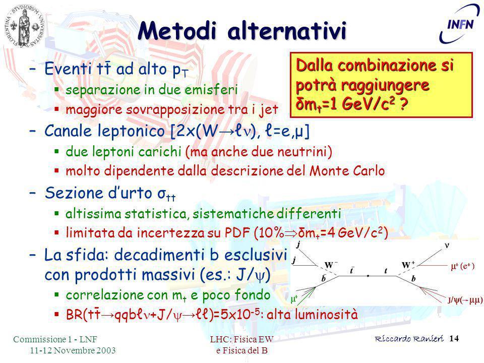 Commissione 1 - LNF 11-12 Novembre 2003 LHC: Fisica EW e Fisica del B Riccardo Ranieri 14 Metodi alternativi –Eventi tt ad alto p T  separazione in due emisferi  maggiore sovrapposizione tra i jet –Canale leptonico [2x(W → ℓ n ), ℓ=e,μ]  due leptoni carichi (ma anche due neutrini)  molto dipendente dalla descrizione del Monte Carlo –Sezione d'urto σ tt  altissima statistica, sistematiche differenti  limitata da incertezza su PDF (10%  δm t =4 GeV/c 2 ) –La sfida: decadimenti b esclusivi con prodotti massivi (es.: J/ y )  correlazione con m t e poco fondo  BR(tt → qqbℓ n +J/ y→ ℓℓ)=5x10 -5 : alta luminosità - - Dalla combinazione si potrà raggiungere δm t =1 GeV/c 2