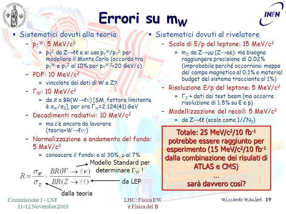 Commissione 1 - LNF 11-12 Novembre 2003 LHC: Fisica EW e Fisica del B Riccardo Ranieri 19 Errori su m W  Sistematici dovuti alla teoria –p T W : 5 MeV/c 2 »p T Z da Z → ℓℓ e si usa p T W /p T Z per modellare il Monte Carlo (accordo tra p T W e p T Z al 10% per p T W,Z <20 GeV/c) –PDF: 10 MeV/c 2 »vincolate dai dati di W e Z.