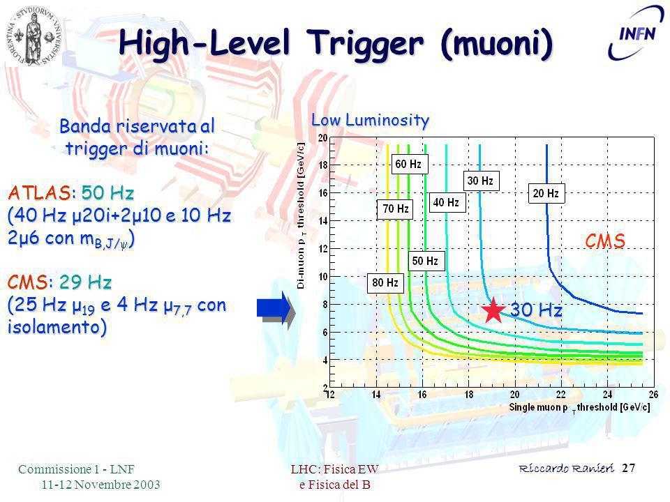 Commissione 1 - LNF 11-12 Novembre 2003 LHC: Fisica EW e Fisica del B Riccardo Ranieri 27 Low Luminosity CMS High-Level Trigger (muoni) Banda riservata al trigger di muoni: ATLAS: 50 Hz (40 Hz μ20i+2μ10 e 10 Hz 2μ6 con m B,J/  ) CMS: 29 Hz (25 Hz μ 19 e 4 Hz μ 7,7 con isolamento) 30 Hz