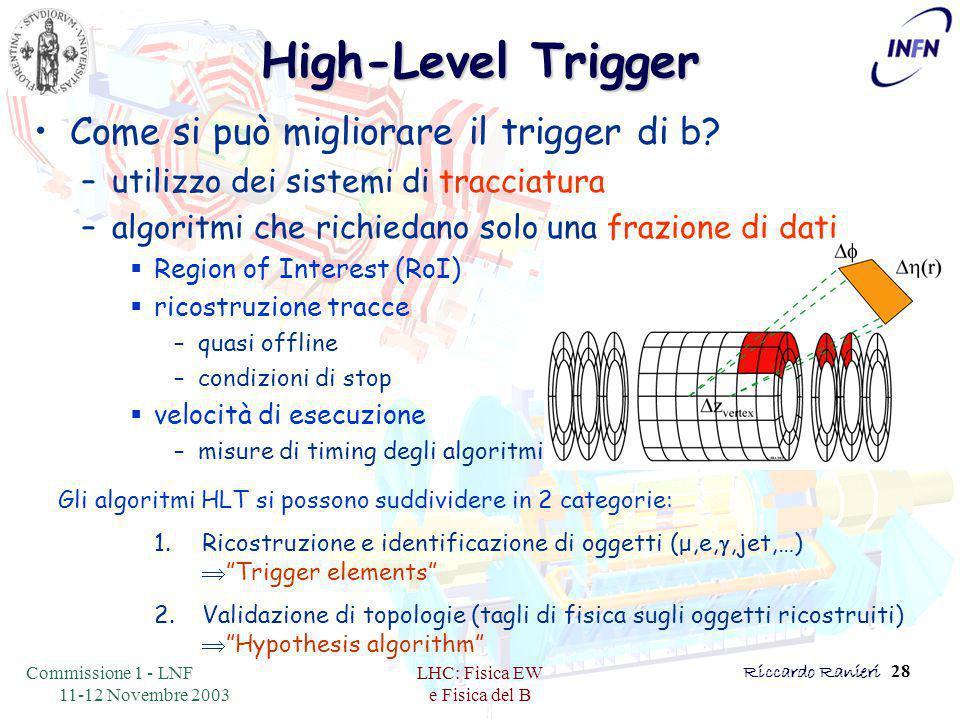 Commissione 1 - LNF 11-12 Novembre 2003 LHC: Fisica EW e Fisica del B Riccardo Ranieri 28 High-Level Trigger Come si può migliorare il trigger di b.