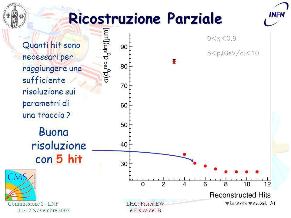 Commissione 1 - LNF 11-12 Novembre 2003 LHC: Fisica EW e Fisica del B Riccardo Ranieri 31 Ricostruzione Parziale Quanti hit sono necessari per raggiungere una sufficiente risoluzione sui parametri di una traccia .